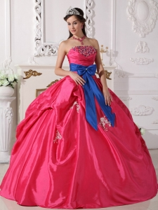 Strapless Beading Quinceanera Dress Hot Pink Ball Gown