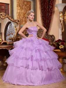 Beading Ball Gown Lavender Quinceanera Dress Strapless