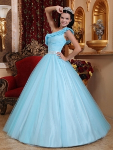 A-line One Shoulder Light Blue Quinceanera Dress Tulle Ruch