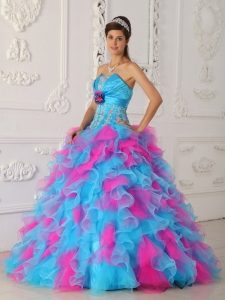 Appliques Hand Flower Multi-color Quinceanera Dress Organza