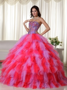 Multi-color Quinceanera Ball Gown Dress Strapless Appliques