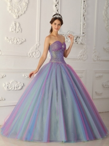 Beading Sweetheart Tulle Multi-color Quinceanera Dress