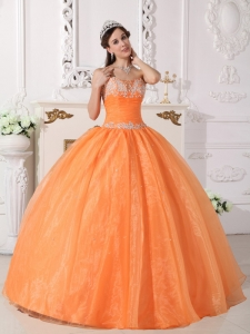 Appliques Quinceanera Dress Orange Taffeta Organza Beading