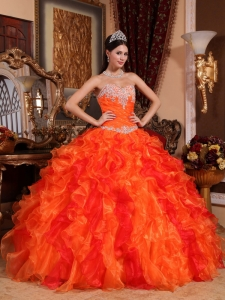 Beaded Orange Quinceanera Dress Sweetheart Ruffles Appliques
