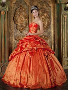 Pick-ups Orange Red Quinceanera Dress for sweet 15