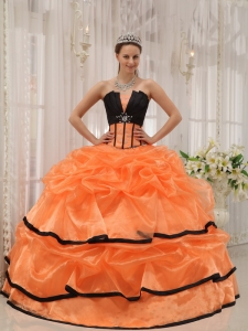 Satin Organza Beaded Orange and Black Quinceanera Gown