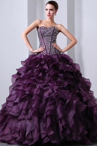 Beaded Ruffles Dark Purple Quinceanea Dress Brush Train