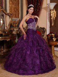 Purple Organza Ruffles Beaded Quinceanera Dress Sweetheart