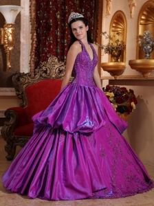Halter Taffeta Appliques Purple Quinceanera Dress Ball Gown