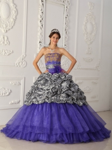 Chapel Train Zebra Quinceanera Dress Purple Strapless