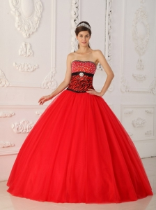 Zebra Beading Red Quinceanera Dress Princess Strapless