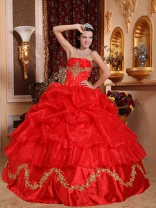 Corel Red Ball Gown Dress for Quinceanera Organza Beading