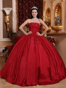 Red Quinceanera Gown Dress Taffeta Beading Strapless