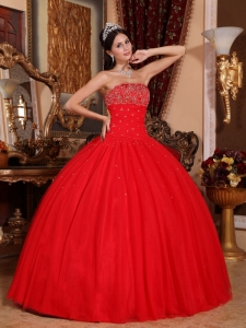 Strapless Tulle Beading Red Quinceanera Dress Ball Gown