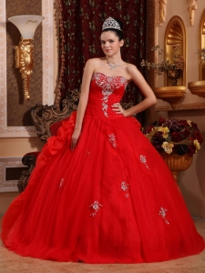 Strapless Red Sweet 16 Dress Sweetheart Organza Appliques
