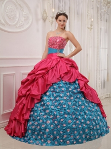 Strapless Taffeta Beading Quinceanera Gown Red and Blue