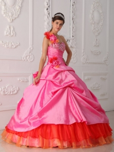 Beading Hand Flower Quinceanera Dress Rose Pink One Shoulder