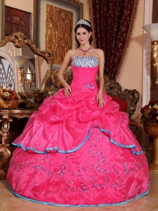 Strapless Organza Hot Pink Appliques Quinceanera Dress