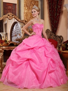 Appliques Quinceanera Dress Rose Pink Organza Strapless