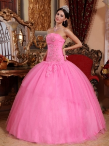 Tulle Appliques Beading Quinceanera Dress Rose Pink