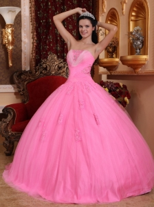 Tulle Beading Quinceanera Dress Rose Pink Strapless