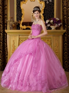 Rose Pink Sweetheart Appliques Organza Quinceanera Dress