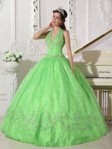 Halter Appliques Quinceanera Dress Spring Green Ball Gown