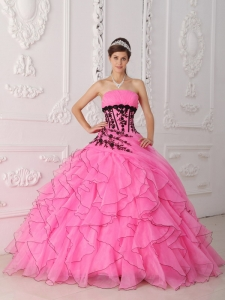 Strapless Appliques Ruffles Rose Pink Quinceanera Dress