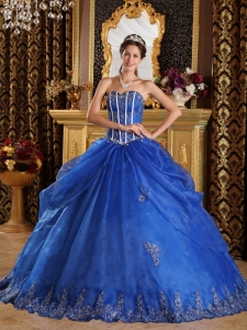 Quinceanera Ball Gown Appliques Royal Blue Sweetheart