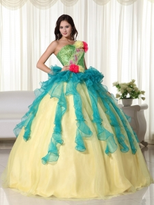 Multi-color Ball Gown Quinceanera Dress Strapless Beading