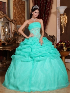 Organza Appliques Turquoise Quinceanera Ball Gown Dress
