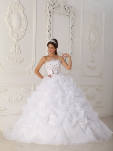 Court Train White Quinceanera Dress Beaded Hand Flower