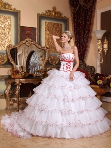 White Organza Appliques Quinceanera Dress Detachable Train