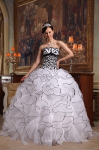 Strapless Ruffles White and Black Zebra Quinceanera Dress