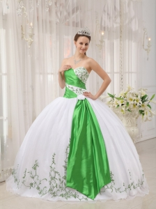 Sweetheart White and Green Embroidery Quinceanera Dress