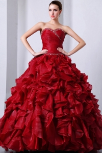 Beaded Rufffles Quinceanea Dress Wine Red Sweetheart