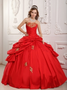 Ball Gown Sweetheart Appliques Red Quinceanera Dress