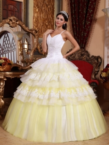 Yellow Spaghetti Organza Lace Appliques Quinceanera Dress
