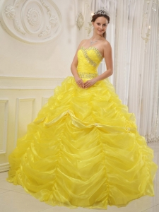 Yellow Beading Quinceanera Dress Ball Gown Sweetheart