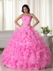 Ball Gown Appliques Organza Rose Pink Quinceanera Dress
