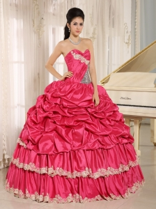 Hot Pink Sequins Quinceanera Dresses Appliques Pick-ups