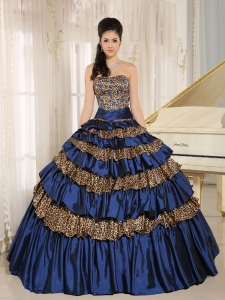Royal Blue Leopard Quinceanera Dress Layers Appliques