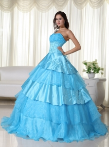 Ruffled Layers One Shoulder Beaded Quinceanera Dress Aqua