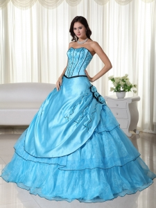 Strapless Organza Beading Aqua Quinceanera Ball Gown Dress