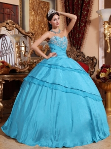 Ball Gown Appliques Quinceanera Dress Aqua Blue Sweetheart