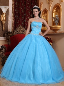 Beading Aqua Blue Appliques Ball Gown for Quinceanera 15