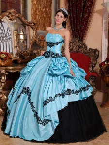 Appliques Quinceanera Dress Baby Blue and Black Taffeta