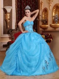 Baby Blue Sweet Sixteen Beading Quinceanera Dress Appliques