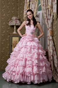 Beaded Ruffled Layers Pink Quinceanea Dress One Shoulder