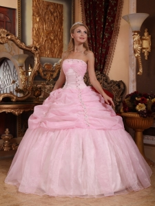 Baby Pink Ball Gown Appliques Quinceanera Dress Organza